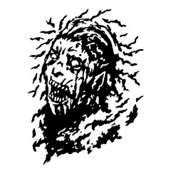 Scary head of zombie woman with disheveled hair. Vector illustration.