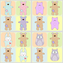 Vector seamless pattern of cute animals - owl, bear, bunny and cat. Cartoon style.