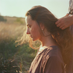 A film portrait of a young beautiful woman