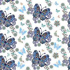 Decorative floral seamless ornament with butterflies. Vintage flowers seamless ornament in blue colors. Decorative ornament backdrop for fabric, textile, wrapping paper
