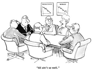 Business cartoon depicting that morale has declined and so has productivity.