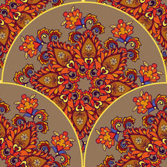 Mandala floral seamless background. Round ornament with fantastic flowers and leaves. Decorative ornament backdrop for fabric, textile, wrapping paper