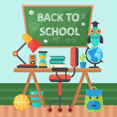 Back To School Banner Chalkboard and pupil table. Vector Flat Illustration. School Education Concept. Vector illustration.