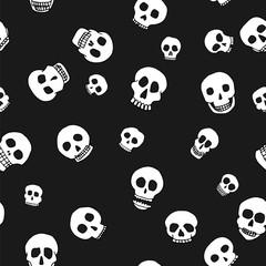 hand drawn skull seamless pattern
