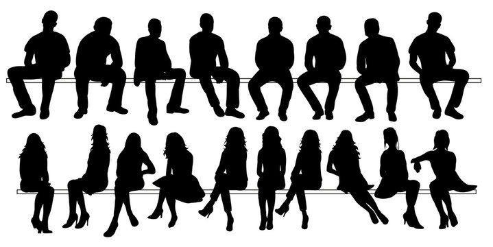 Vector, isolated set of silhouettes of seated people collection of silhouettes