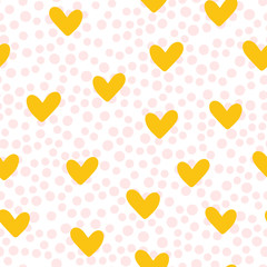 Repeated cute hearts. Polka dot. Seamless pattern. Drawn by hand. White, pink, yellow color.