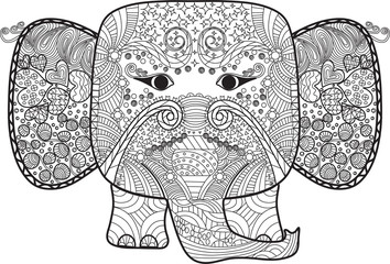 abstract elephant for coloring book.