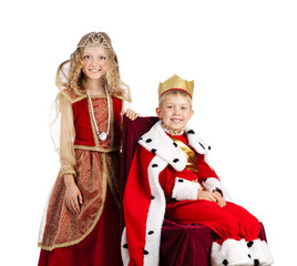 Portrait of Happy King and Qween in Carnival Costumes