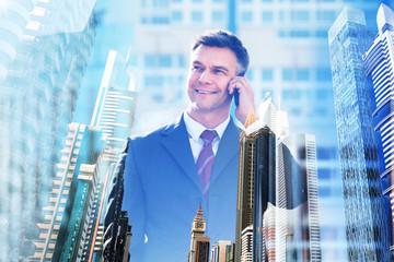 Portrait Of A Mature Businessman Talking On Cellphone