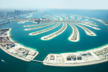 Spoed Fotobehang Dubai Aerial View Of Palm Island In Dubai