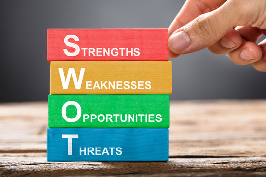 Hand Building Colorful SWOT Concept With Wooden Blocks