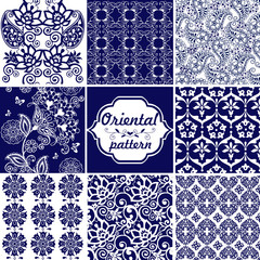 Set Oriental ornaments in blue paisley. Decorative ornament for fabric, textile, wrapping paper. Traditional oriental seamless paisley pattern