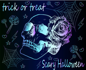 Trick or treat - scary Halloween. A bright neon poster Halloween. Skull with a rose, sweets and cobwebs