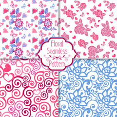Set of pink seamless patterns with hearts. Decorative ornament backdrop for fabric, textile, wrapping paper