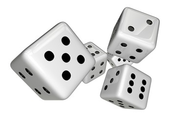 White Dices Isolated on White