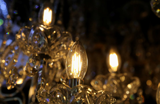Light bulbs are seen at a shop in down town Lima, Peru
