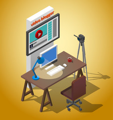 Workplace video blogger. A table with a chair, a camera on a tripod, a cup of coffee Vector isometric Illustration