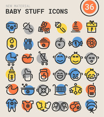 Baby stuff bold linear icons