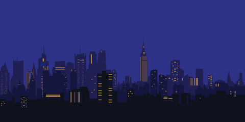 Vector illustration. Night city, houses, high-rise buildings