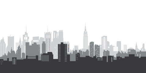 Vector illustration. City landscape. Blue silhouette of the city. City landscape in a flat style.