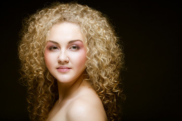 blonde with curly hair