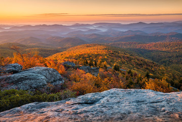 Canvas Prints Lavender Scenic sunrise over fall foliage, Blue Ridge Mountains, North Carolina.