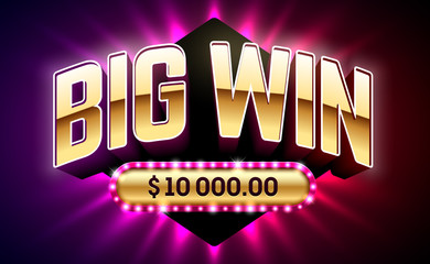 Big Win banner for lottery or casino games such as poker, roulette, slot machines or card games