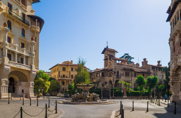 Rome, Italy - The esoteric quarter of Rome, called 'Quartiere Coppedè', designed by architect Gino Coppedè consisting of eighteen palaces and twenty-seven buildings rich in symbologies