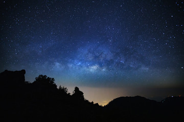 Milky Way Galaxy at Doi Luang Chiang Dao.Long exposure photograph.With grain