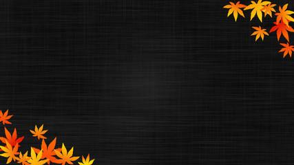 秋のイメージ 布地の背景に紅葉 (16:9)
