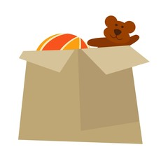 Cardboard box with childish toys isolated cartoon illustration