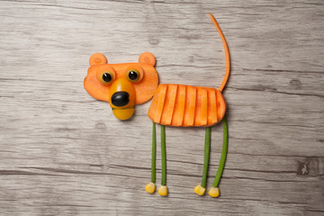 Vegetable tiger made on wooden board