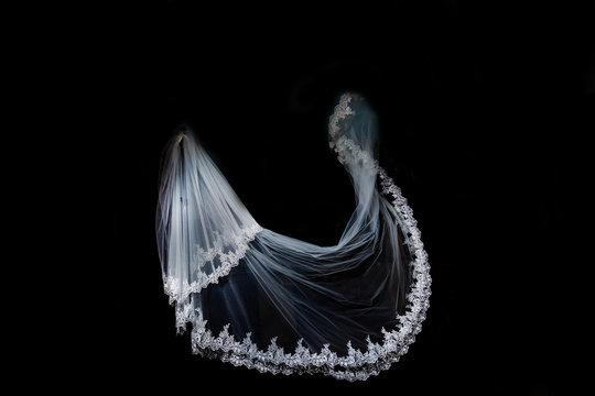 wedding white Bridal veil on black background isolated
