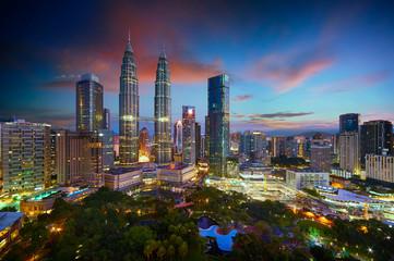 Canvas Prints Kuala Lumpur Beautiful Kuala Lumpur city skyline with dramatic sky , twilight scene . Malaysia .