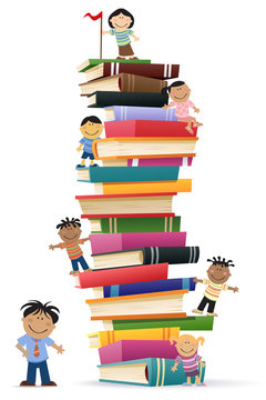 Kids Climb A Stack Of Books