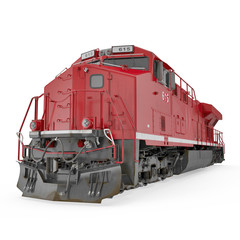 Red Diesel Locomotive on white. 3D illustration, clipping path