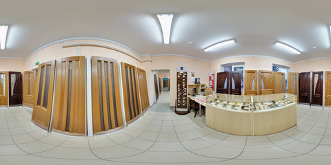 Full spherical 360 by 180 degrees seamless panorama in equirectangular equidistant projection, panorama in interior wooden door store shop, VR content