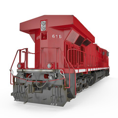 Modern red locomotive isolated on white. Rear view. 3D illustration, clipping path