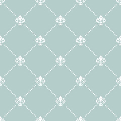 Seamless light blue and white pattern. Modern geometric ornament with royal lilies. Classic vintage background
