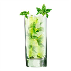 Watercolor  illustration of  alcoholic cocktail. Classic mojito. Lime, mint leaf, ice