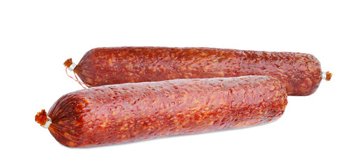 Dry salami sausage sticks isolated on white