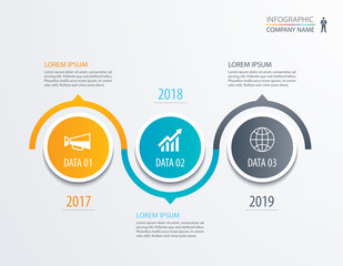3 circle timeline infographic template business concept background. Vector can be used for workflow layout, diagram, number step up options, web design ,annual report