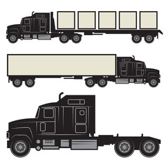 Heavy trucks silhouette set