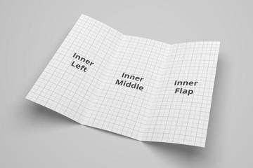 US Letter tri fold brochure 3D illustration mockup with grid No. 4