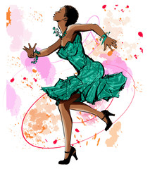 Poster de jardin Art Studio Beautiful black woman dancing