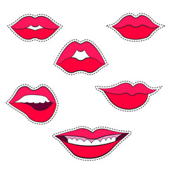 Woman's lip gestures patches set