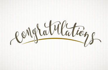 Congratulations. Vector lettering on light background