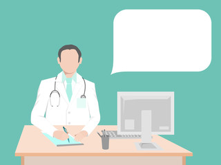 Doctor sitting at the desk in the office. To the right of doctors is a communication bubble. In bubble you can record your information.
