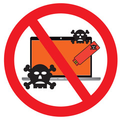 Protected virus or ransomeware from usb flash drive to personal computer with vector design
