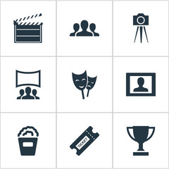 Vector Illustration Set Of Simple Cinema Icons. Elements Snack, Pass, Trophy And Other Synonyms Board, Performance And Montage.